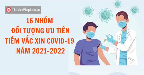 16 NHÓM ĐỐI TƯỢNG ƯU TIÊN TIÊM VẮC XIN COVID-19 NĂM 2021-2022